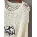 cheap Stylish Round Neck Ripped Sequins Embellished Sweater For Women