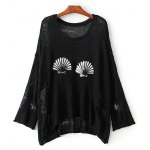 Stylish Round Neck Ripped Sequins Embellished Sweater For Women