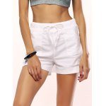 Drawstring White High Waisted Shorts for sale