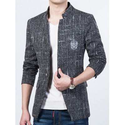 Trendy Textured Stand Collar Totem Print Slim Fit Blazer For MenMens Blazers<br>Trendy Textured Stand Collar Totem Print Slim Fit Blazer For Men<br><br>Material: Cotton Blends<br>Clothing Length: Regular<br>Sleeve Length: Long Sleeves<br>Weight: 0.850kg<br>Package Contents: 1 x Blazer