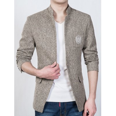 Trendy Textured Stand Collar Totem Print Slim Fit Blazer For Men