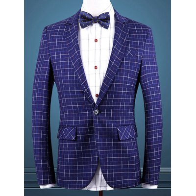 Gingham Faux Pocket One Button Blazer For Men
