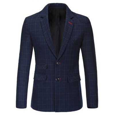 Notched Lapel Collar Classic Checked Blazer For Men