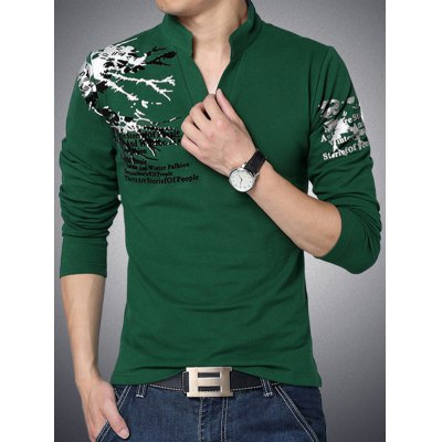 Letter Print Stand Collar Long Sleeve Tee For Men