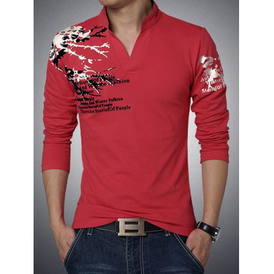 Stylish Letter Print Stand Collar Long Sleeve Tee For Men