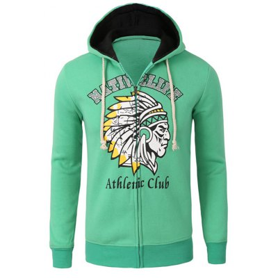 Casual Zipper Flying Indian Print Long Sleeve Green Hoodies For Men
