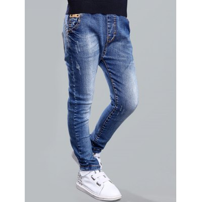 Drawstring Pocket Design Jeans
