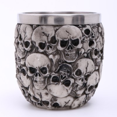 High Quality Carving 3D Skulls Stainless Steel Vodka Wine Cup