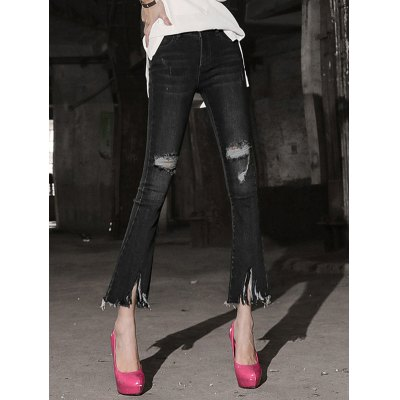 Women's Row Edged Ripped Skinny Boot Cut Jeans