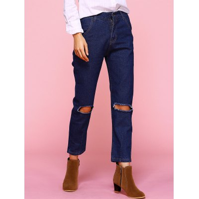 Plus Size Broken Hole Jeans