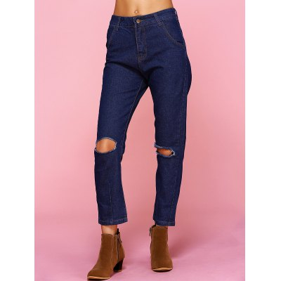 Chic Solid Color Broken Hole Jeans