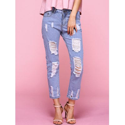 Ripped Light Color Jeans