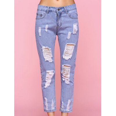 Trendy Ripped Light Color Jeans