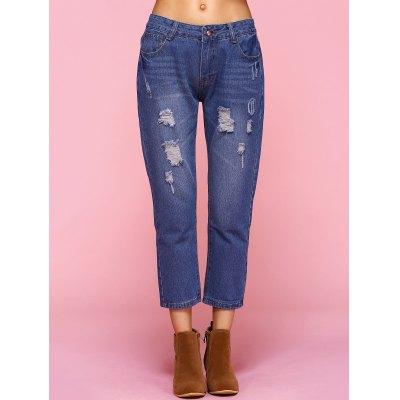 Brief Frayed Crease Jeans