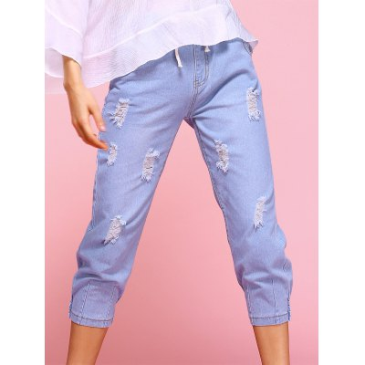 Casual Ripped Drawstring Capri Jeans