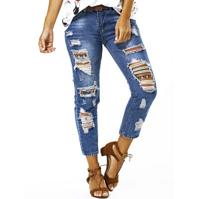 Bleach Wash Ripped Jeans For Women