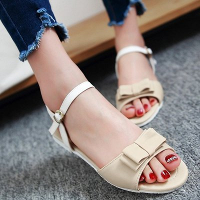 Sweet Bowknot and Color Splicing Design Sandals For Women