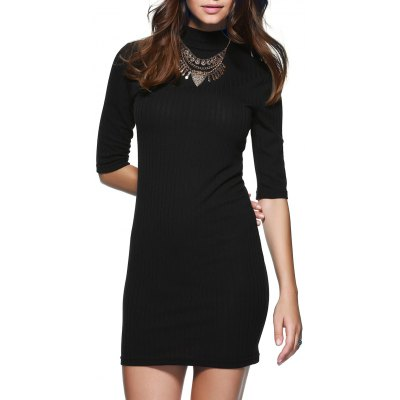 Round Neck 1/2 Sleeve Skinny Sweater Dress