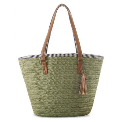 Weaving Tassels Striped Shoulder Bag