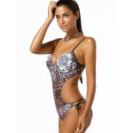 cheap Spaghetti Strap Leopard Print One-Piece Swimwear