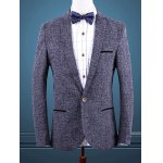 Blue Melange Notch Lapels Single Button Opening Casual Blazer For Men