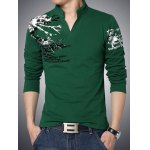 cheap Stylish Letter Print Stand Collar Long Sleeve Tee For Men