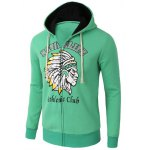 cheap Casual Zipper Flying Indian Print Long Sleeve Green Hoodies For Men