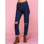 cheap Chic Solid Color Broken Hole Jeans