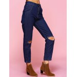 Chic Solid Color Broken Hole Jeans deal