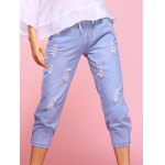 cheap Casual Ripped Drawstring Capri Jeans