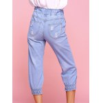 Casual Ripped Drawstring Capri Jeans for sale