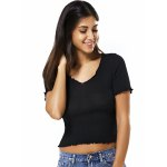 cheap V Neck Short Sleeve Solid Color Knitted Crop Top