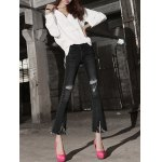 cheap Row Edged Ripped Skinny Boot Cut Jeans