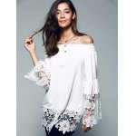 cheap Off The Shoulder Lace Splicing Blouse