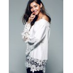 Off The Shoulder Lace Splicing Blouse deal