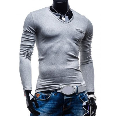 Brief Style Pure Color Pocket Design Long Sleeve Tee For Men