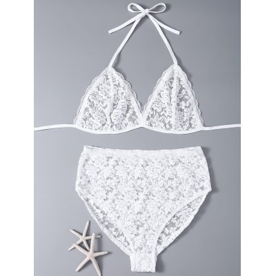 Alluring Lace Bra and Briefs Women's Lingeries Suit