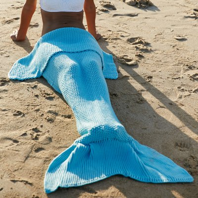 Wool Knitting Fish Tail Design Blanket For Adult