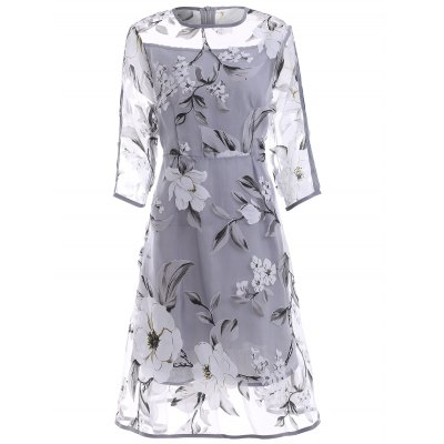 3/4 Sleeve See-Through Floral Organza Dress For Women
