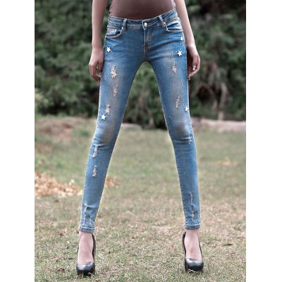 Women's Light Color Star Pattern Ripped Jeans