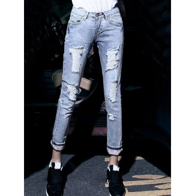Women's Wash Bleach Destroyed Painted Jeans