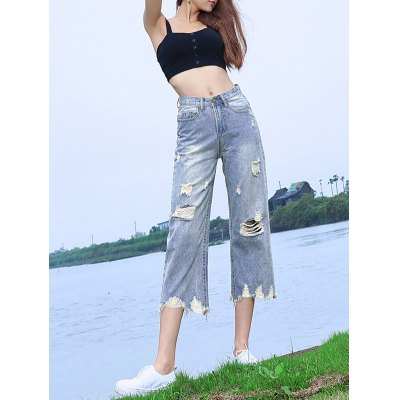 Loose-Fitting Destroyed Light Color Wide Leg Jeans