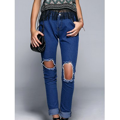 Button Fly Broken Hole Design Jeans