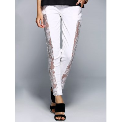 Stylish See-Through Beaded Lace Denim Pants For Women