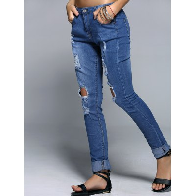 Boyfriend Style Broken Hole Narrow Feet Women's Jeans