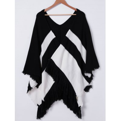 Fringe Stripe Knit Cloak For Women