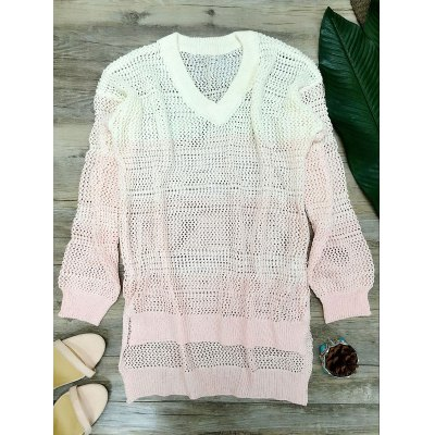 Fashion V-Neck Ombre High Low Hem Sweater For Women