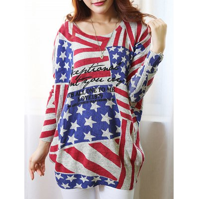 Scoop Neck Long Sleeve Flag Print Sweater For Women