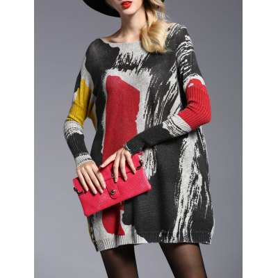 Stylish Jewel Neck Long Sleeve Color Block Long Sweater For Women