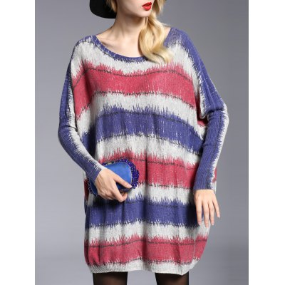 Stylish Scoop Neck Long Sleeve Color Block Loose-Fitting Sweater For Women
